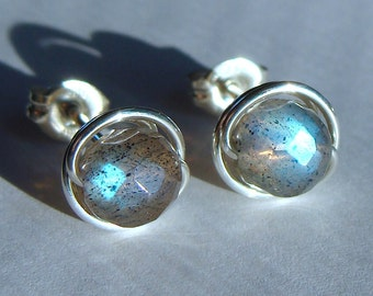 Labradorite Studs Labradorite Earrings Post Earrings 5mm Faceted Labradorite Wire Wrapped in Sterling Silver