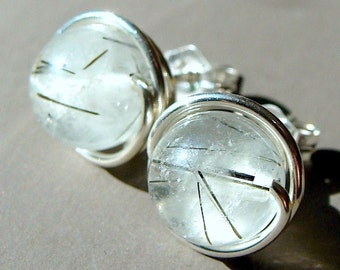 Tourmalinated Quartz Earrings 7mm Tourmalinated Quartz Studs Post Earrings Wire Wrapped in Sterling Silver Stud Earrings