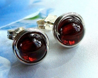 Garnet Studs Garnet Earrings Wire Wrapped in Sterling Silver Post Earrings Birthstone Earrings