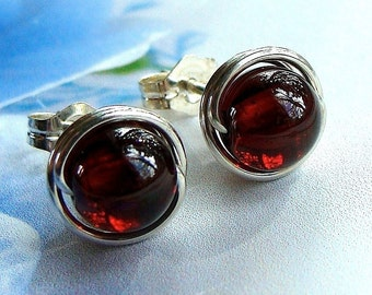 Garnet Studs 7mm Garnet Earrings Wire Wrapped in Sterling Silver Post Earrings Birthstone Earrings