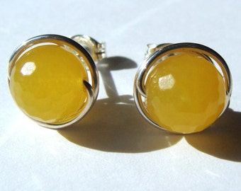 8mm Faceted Sunny Yellow Agate Post Earrings in Sterling Silver Stud Earrings Agate Studs