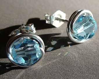 Aquamarine Crystal Studs 6mm or 4mm Aquamarine Studs Swarovski Crystal Birthstone Post Earrings Wire Wrapped in Sterling Silver Earrings