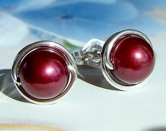 Pearl Studs Pearl Earrings Burgundy Cranberry Cultured Pearl Stud Post Earrings in Sterling Silver