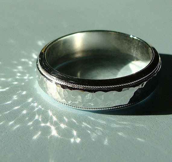 Hammered Sterling Silver 5mm Milgrain Band Ring