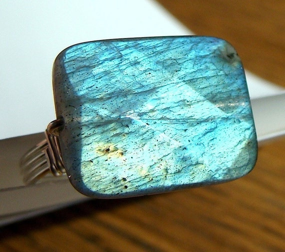 Labradorite Rectangle Ring Wire Wrapped in Sterling Silver Big Flashy and Faceted