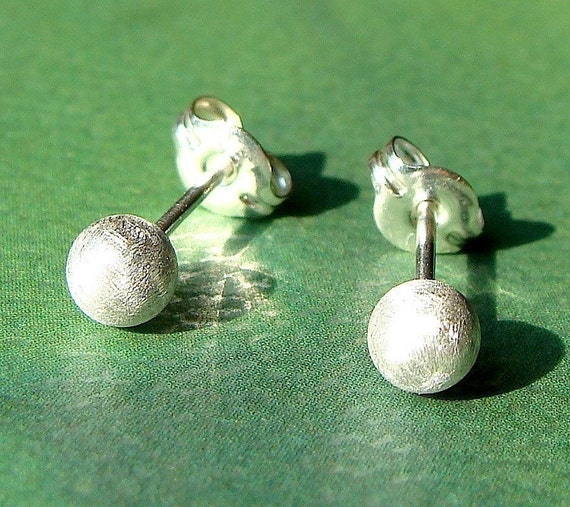 Ball Studs 4mm Satin Brushed Finish Post Earrings in Sterling Silver Stud Earrings Studs