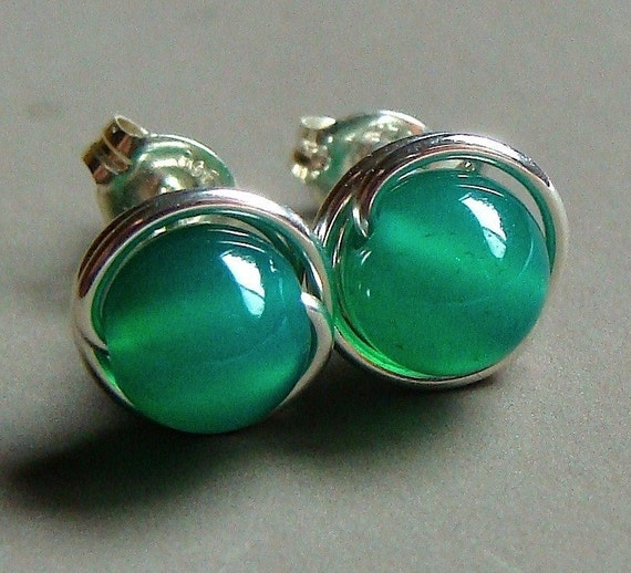 6mm Emerald Green Onyx Studs Post Earrings Wire Wrapped in Sterling Silver Stud Earrings Studs