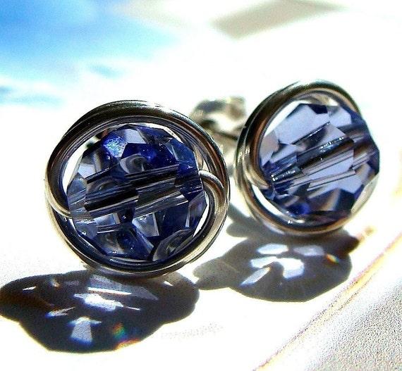 Tanzanite Studs 8mm Tanzanite Swarovski Crystal Post Earrings in Sterling Silver Stud Earrings Studs