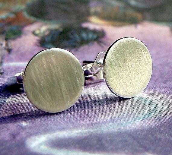 Flat Studs Flat Disc Earrings 8mm Sterling Silver Post