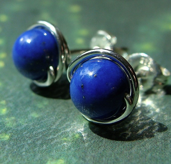 Lapis 6mm Post Stud Earrings Wire Wrapped in Sterling Silver