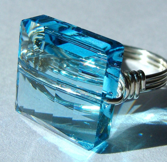 Square Crystal Ring Square Aquamarine Swarovski Crystal and Sterling Silver Cocktail Ring Statement Ring