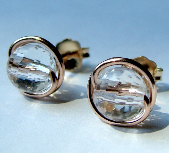 Rose Gold Studs 6mm or 8mm Micro Faceted Crystal Quartz Stud Earrings Post Earrings Wrapped in 14K Rose Gold Filled Wire