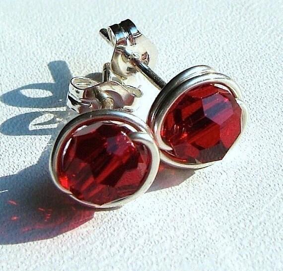 Ruby Crystal Studs 6mm Ruby Red Swarovski Crystal Studs Post Earrings in Sterling Silver Stud Earrings Ruby Studs