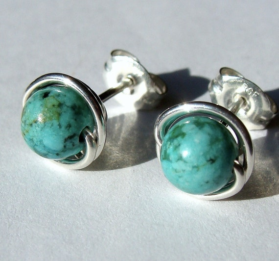 African Turquoise Jasper Studs 6mm or 8mm Turquoise Studs Post Earrings in Sterling Silver Stud Earrings Studs
