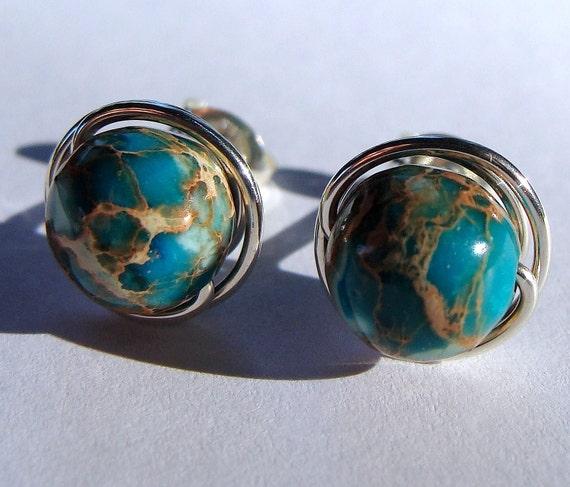 Jasper Studs Aqua Terra Jasper Earrings 8mm Aqua Terra Jasper Studs Post Earrings Wire Wrapped in Sterling Silver Stud Earrings