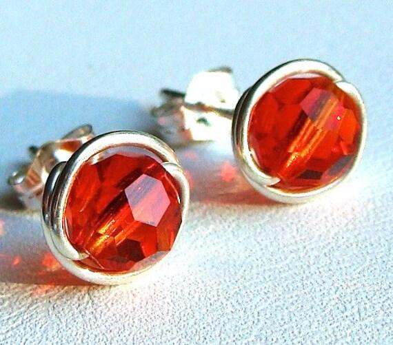 Fire Opal Studs 8mm Fire Opal Swarovski Crystal Studs and Sterling Silver Post Earrings Stud Earrings Fire Opal Studs