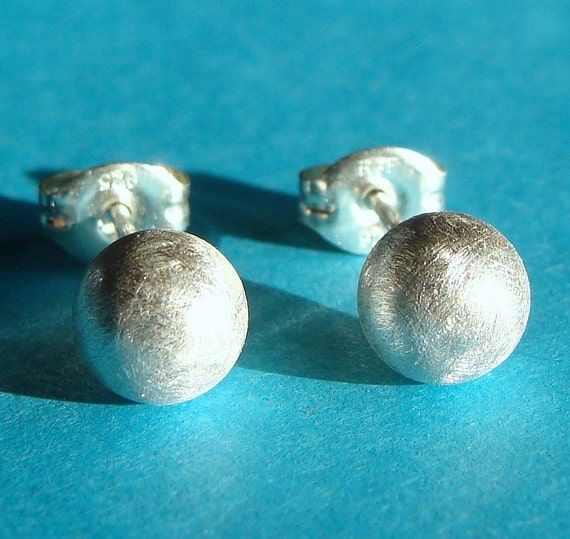 Ball Studs 6mm Satin Brushed Finish Sterling Silver Earrings Stud Earrings Post Earrings Studs