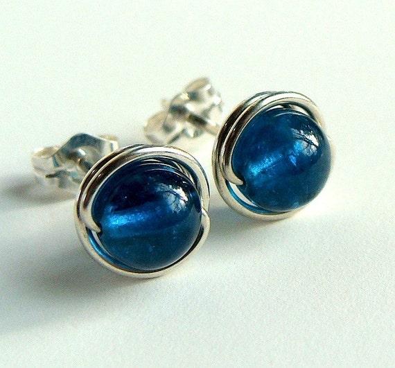 Neon Blue Apatite Stud Earrings in Sterling Silver