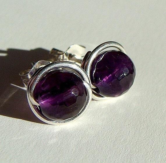 6mm Faceted Amethyst Post Earrings Wire Wrapped in Sterling Silver Stud Earrings Amethyst Studs Birthstone Earrings