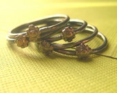 Stacking Flower Rings Teeny Tiny Flower Rings (stack of 5) brass and sterling silver