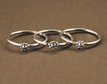 Teeny Tiny Flower Rings (stack of 3-sterling)