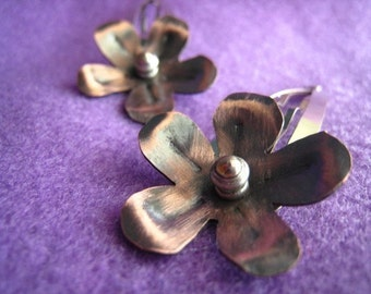 Flower Hair Clips copper and steel barrette