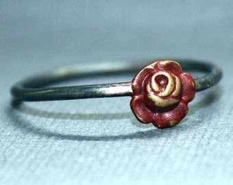 Red Rose Ring brass charm and blackened sterling silver band