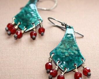 Josephine Earrings - Enameled Copper Dangle