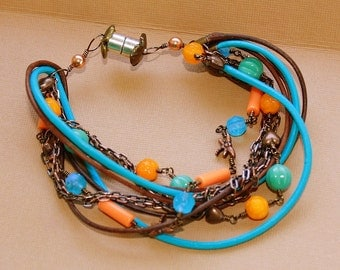 Leather Bead Chain Bracelet czech glass magnetic clasp orange brown  blue