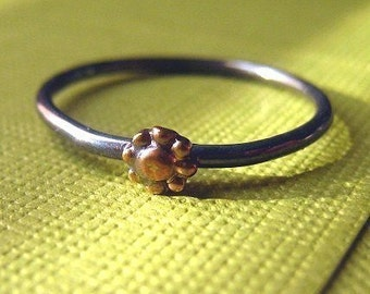 Teeny Tiny Flower Ring stacking brass and sterling silver