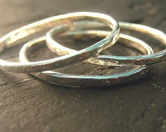 Sterling Silver Thin Stacking Sparkle Rings - set of three