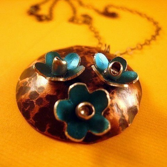 Teal Flower Garden Necklace - Hammered Copper Disc Pendant - Anodized Aluminum Flowers - Riveted - Blackened Sterling Silver Chain -Last One