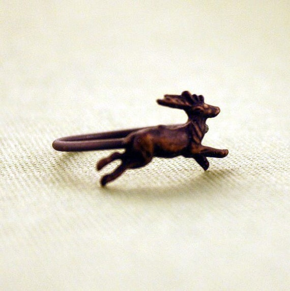 Deer Ring blackened brass and sterling silver