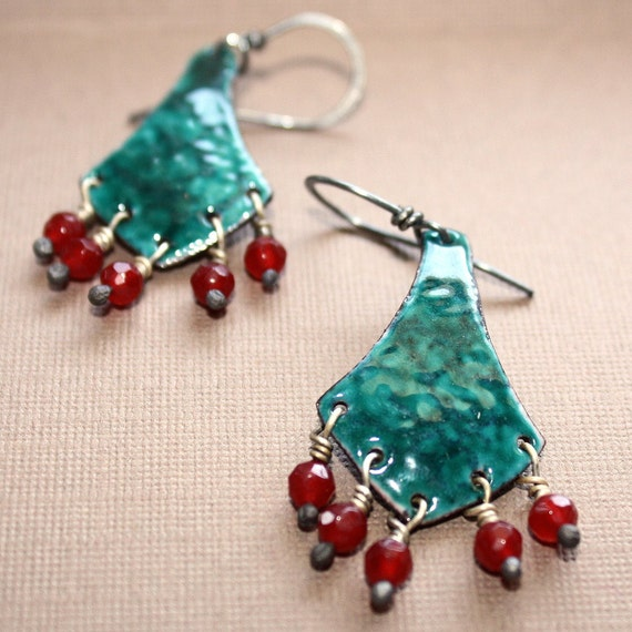 Josephine Earrings - Enameled Copper Dangle