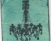 Chandelier Silhouette Unmounted rubber stamp zne mixed media collage