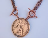1921 Great Britain Half Penny Coin Necklace