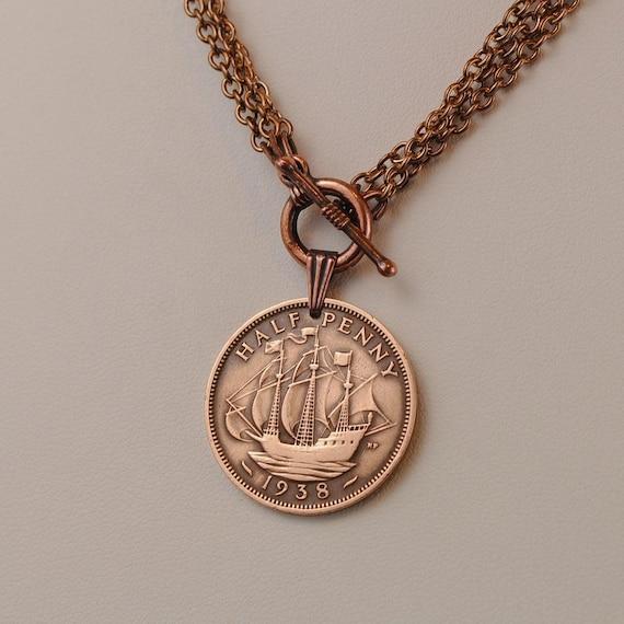British Coin Necklace 1938 Half Penny