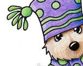 Cairn Terrier Dog Original Art ACEO Sack Hat Drawing Ebsq