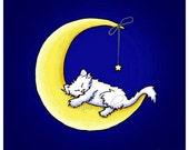 Art Print White Cat Kitten Moon Star