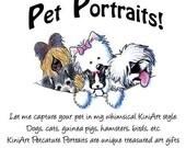 One 8x10 Custom KiniArt Pet Portrait Art Drawing