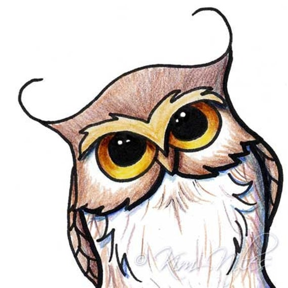 Original Art Cartoon OWL Illustration
