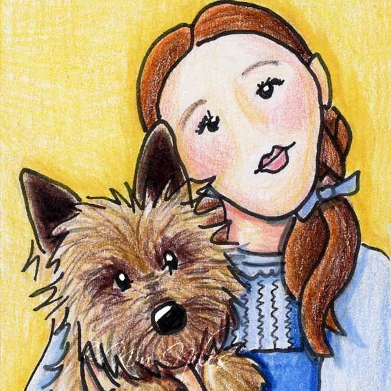 ORIGINAL Art Cairn Terrier TOTO & Dorothy 8x10 Matted ACEO