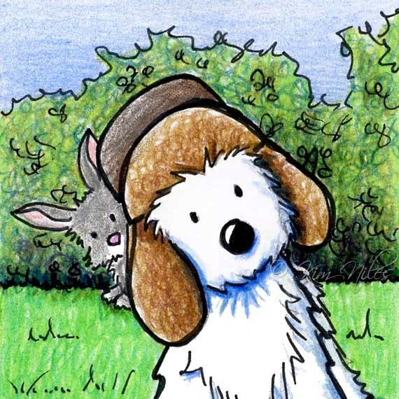 Matted Original Westie Terrier Dog Art Rabbit Hunting ACEO