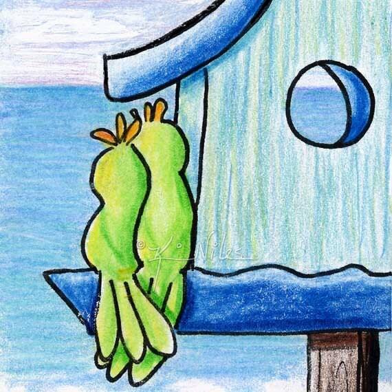 Original Birdhouse Art BIRD ACEO Waterfront Property 8x10 Matted