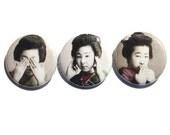 Japanese geisha see no evil hear no evil pinback button set of 3