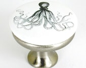 brushed nickel drawer pull with vintage illustration of octopus