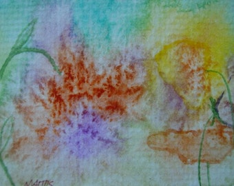 Original Painting Watercolor ACEO abstract flowers