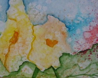 Original Painting Watercolor ACEO abstract painting of flowers  SALE