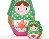 Lilly Matryoshka Nesting Doll Printable Paper Craft PDF