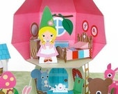 Mushroom Cottage Dollhouse Playset Printable Paper Craft PDF